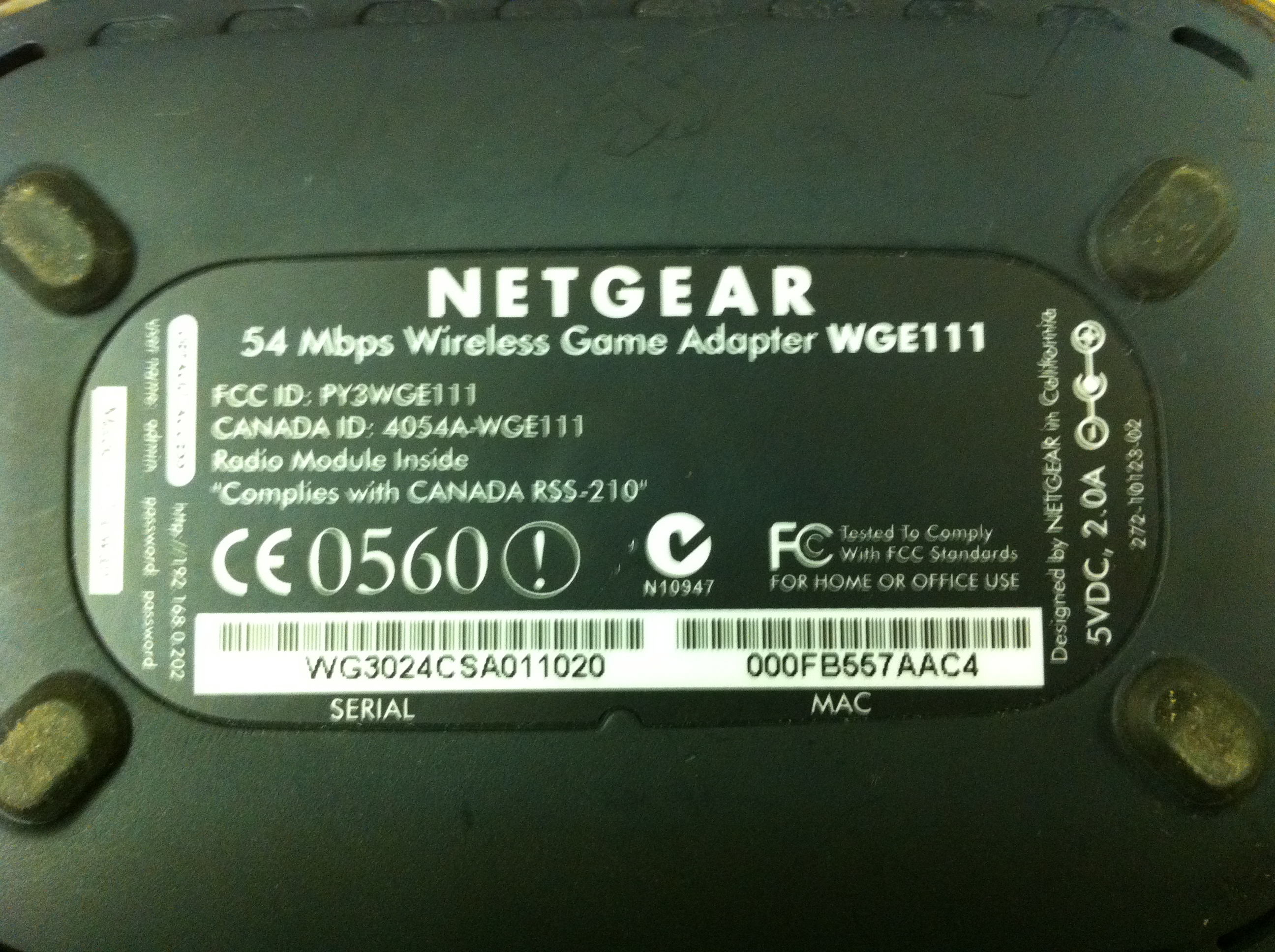 WGE111 Netgear 54Mbps Wireless Game Adapter Untested Needs Power Supply 5V 20A MediaWGE111JPG